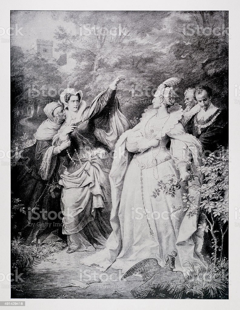Queen Elizabeth I and Mary Stewart vector art illustration