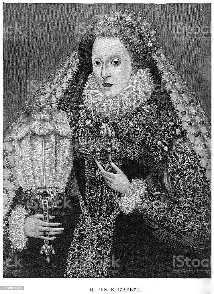 Queen Elizabeth I of England vector art illustration