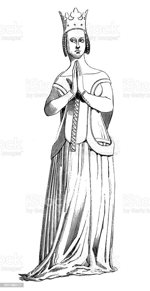 Queen Joanna of Bourbon (antique engraving) vector art illustration