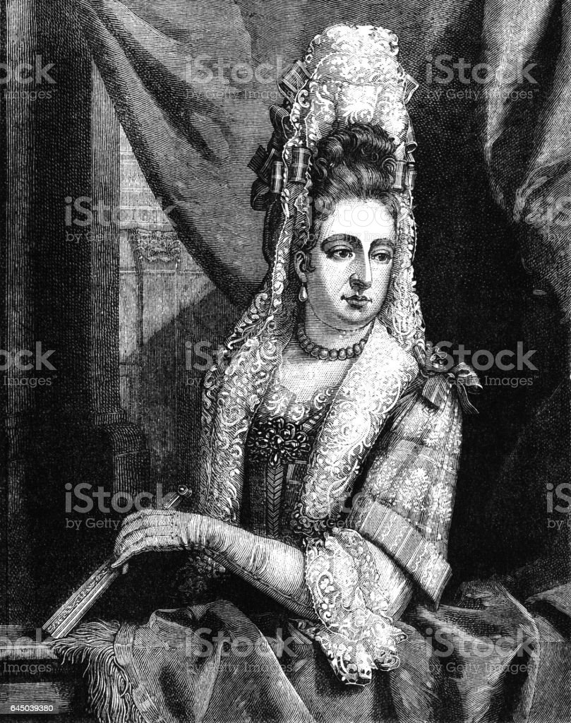 Queen Mary II (Victorian engraving) vector art illustration