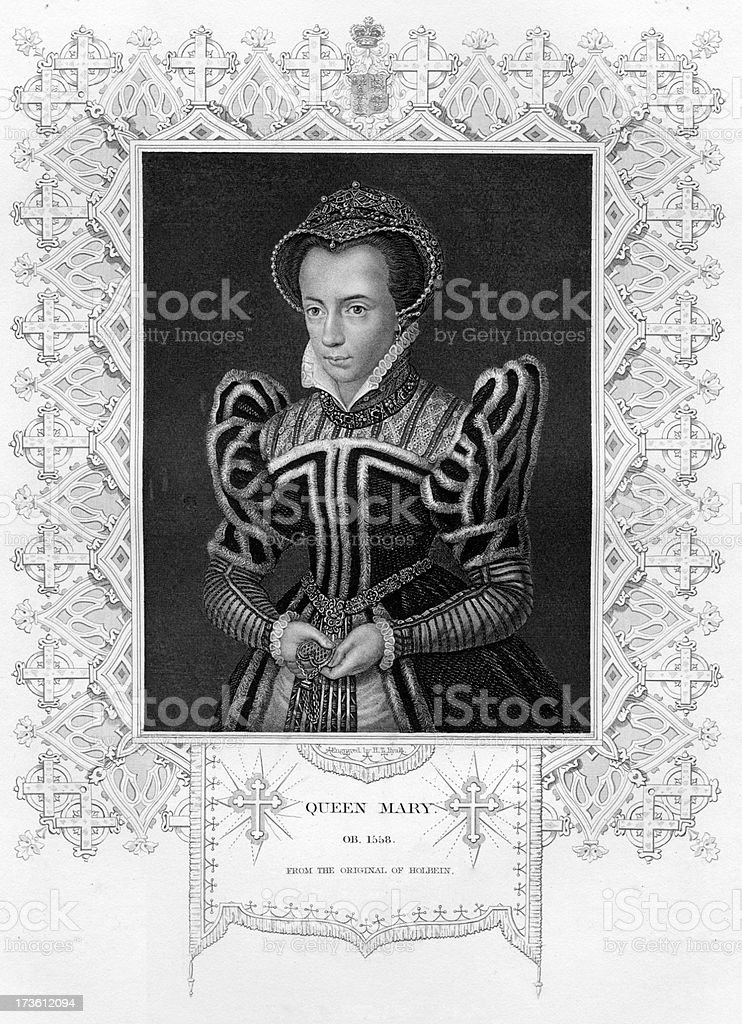Queen Mary of England royalty-free stock vector art