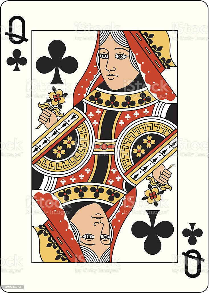 Queen of Clubs Two playing card vector art illustration
