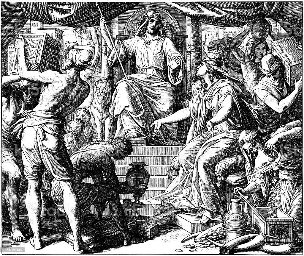 Queen of Sheba Visits Solomon royalty-free stock vector art