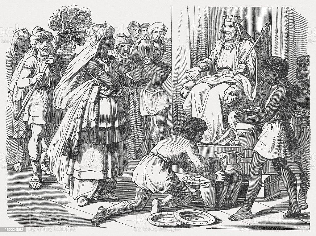 Queen of Sheba's visit to King Solomon (1 Kings 10) vector art illustration