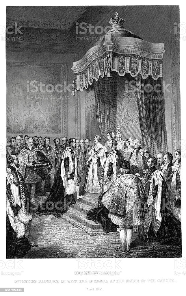 Queen Victoria and Napoleon III royalty-free stock vector art