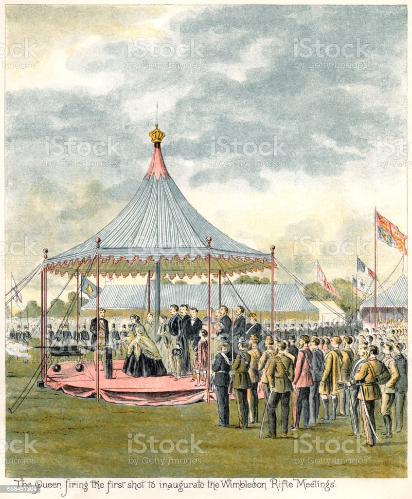 Queen Victoria ceremonially firing a rifle vector art illustration
