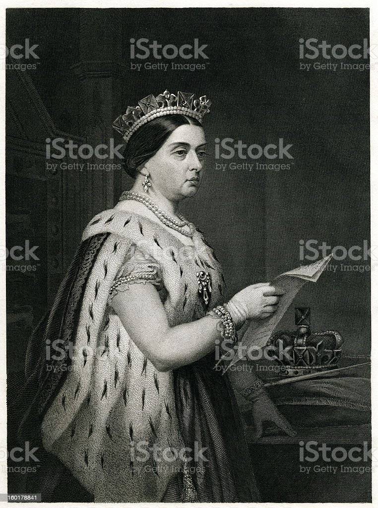 Queen Victoria Engraving From 1873 royalty-free stock vector art