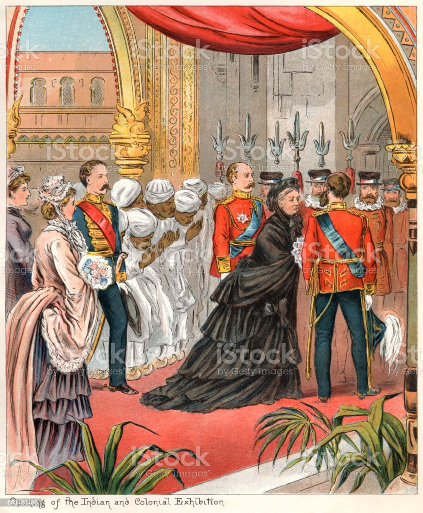 Queen Victoria opening the Indian and Colonial Exhibition in 1886 vector art illustration