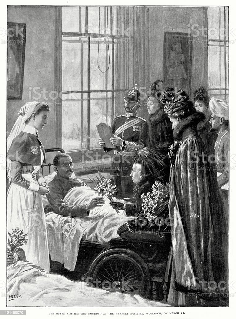 Queen Victoria visiting wounded soilders vector art illustration
