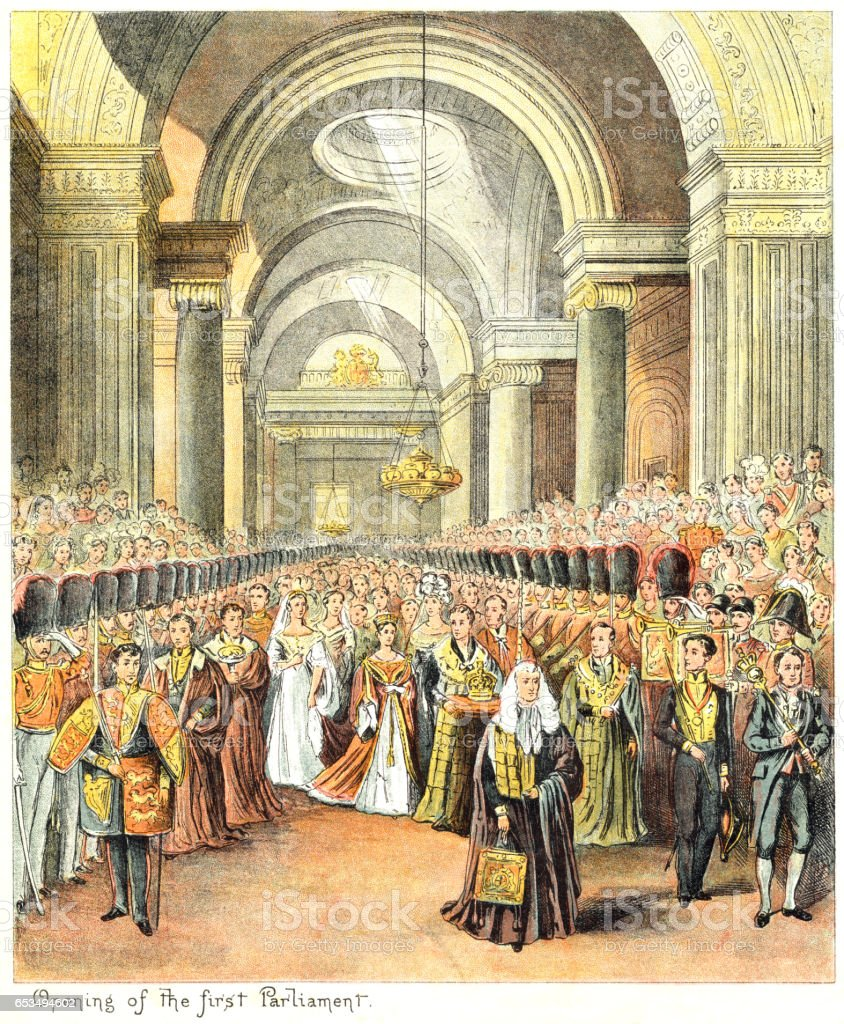 Queen Victoria's first State Opening of Parliament vector art illustration