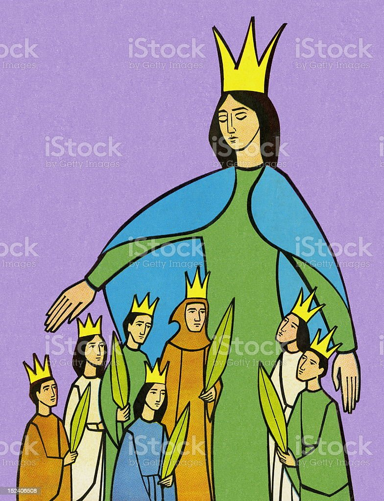 Queen With Little Kings royalty-free stock vector art