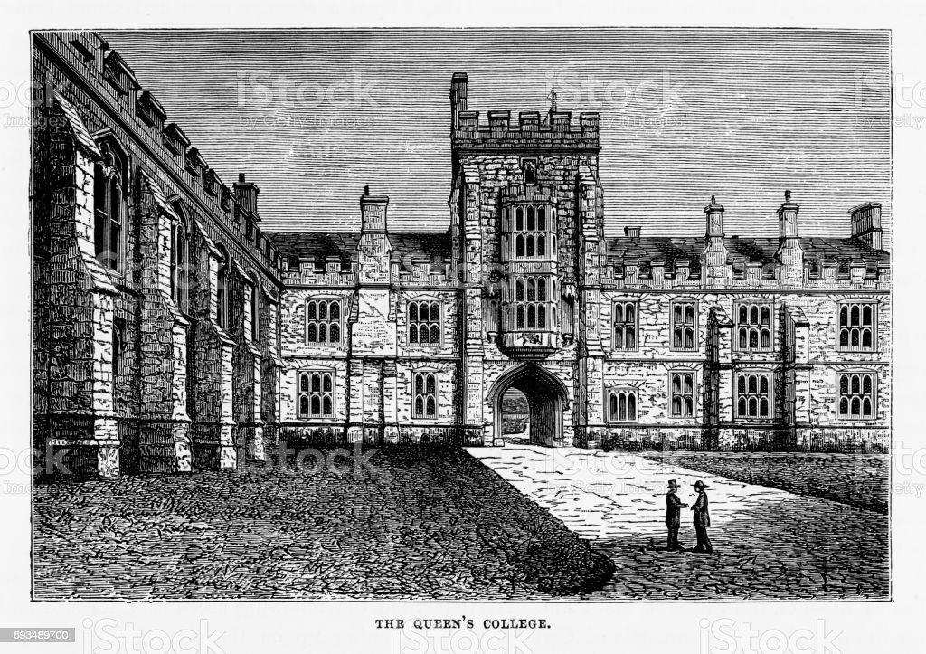 Queen's College, Cork, County Cork, Ireland Victorian Engraving, 1840 vector art illustration