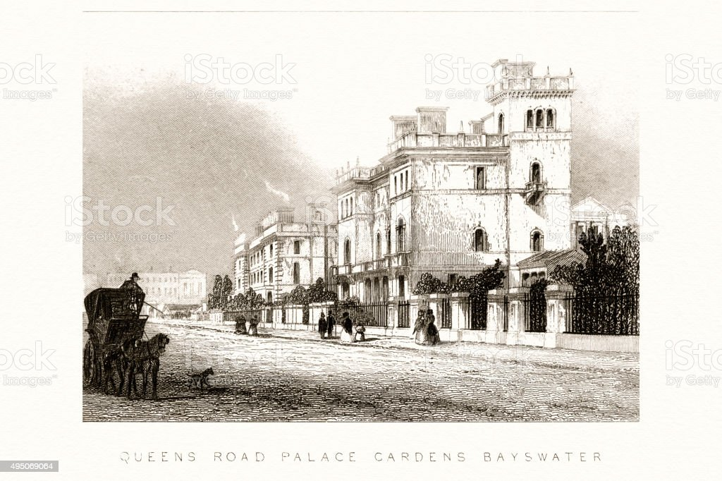 Queens Road, Palace Garden, London 19 century vector art illustration