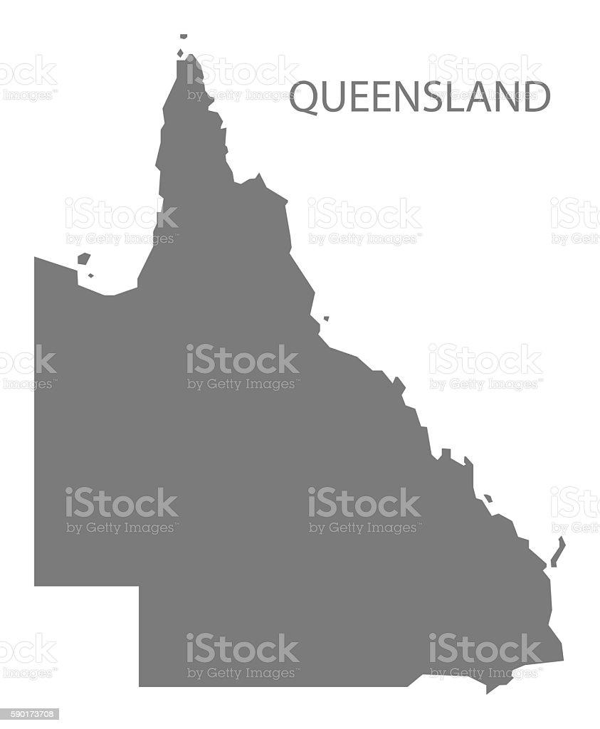 Queensland Australia Map grey vector art illustration