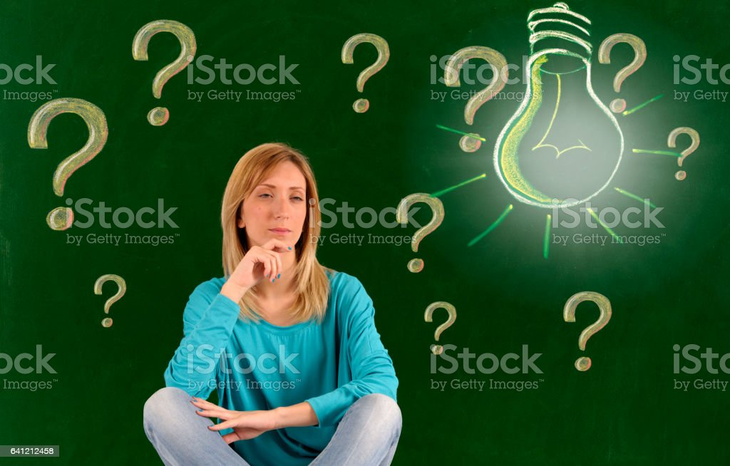 Question mark and light bulb vector art illustration