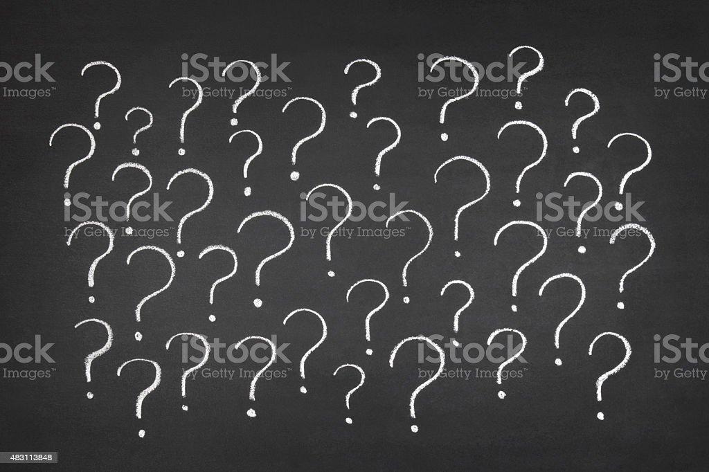 Question Marks on Blackboard vector art illustration