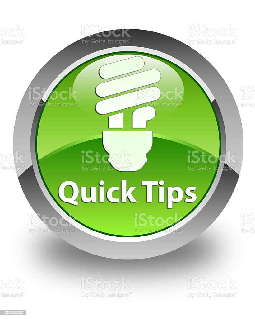 Quick tips (bulb icon) glossy green round button vector art illustration