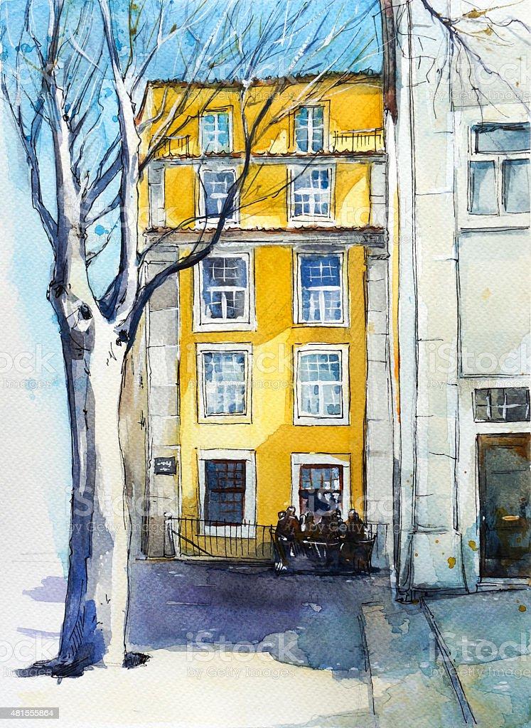 Quiet Lisbon street. Watercolor sketch. vector art illustration