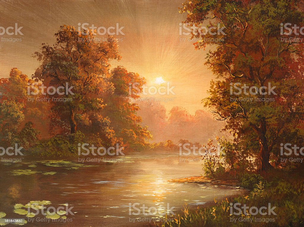 Quiet sunrise vector art illustration