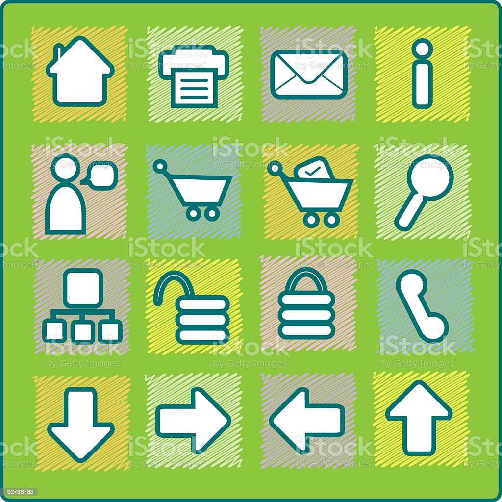 Quilted icon set - web royalty-free stock vector art