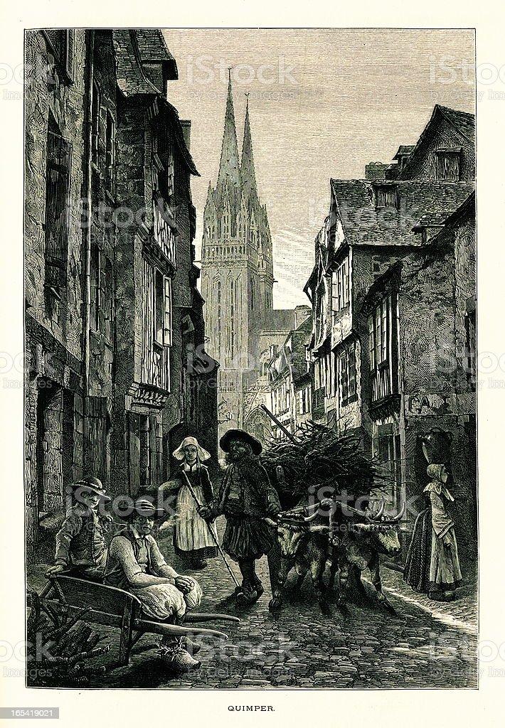Quimper, France I Antique European Illustrations vector art illustration
