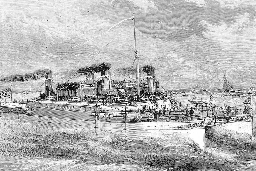 """""""Castalia"""" ship in the British Channel (La Manche) vector art illustration"""