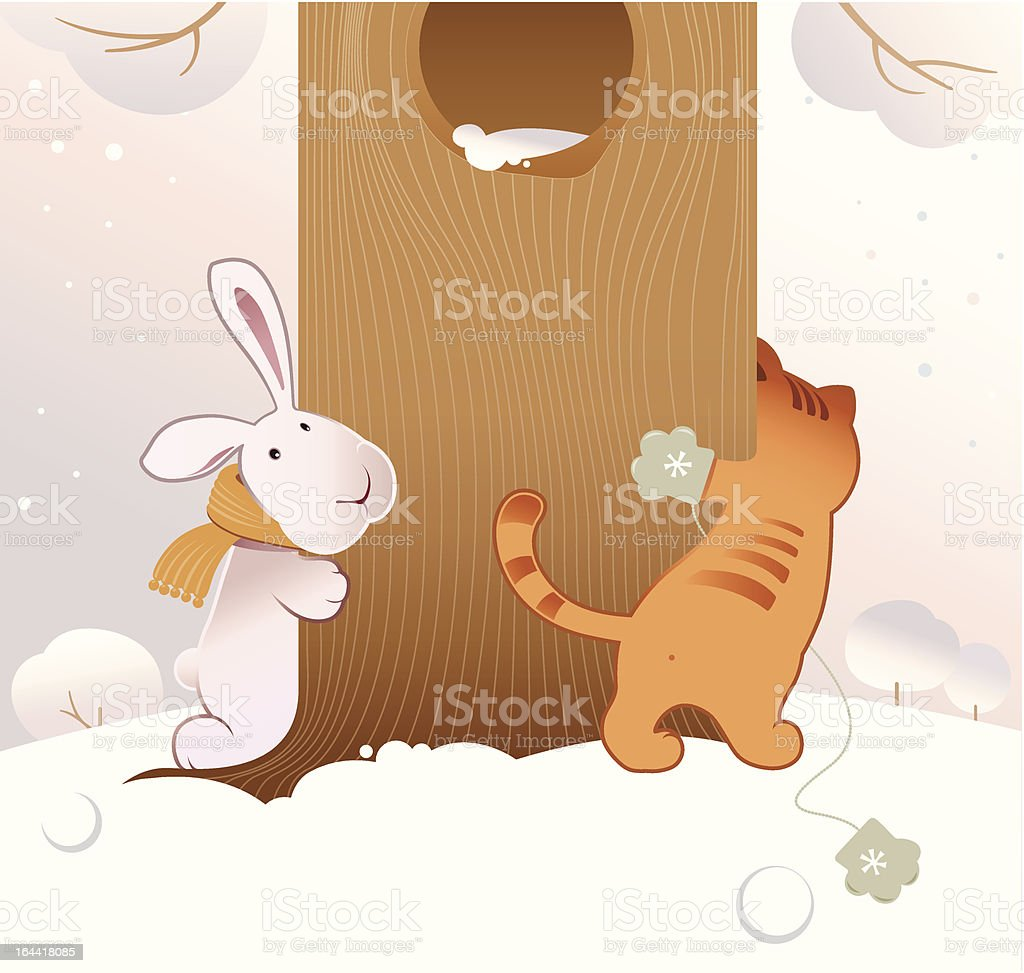 Rabbit and cat playing in the winter vector art illustration