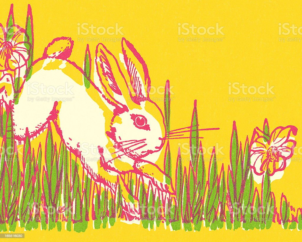 Rabbit Hopping in the Grass royalty-free stock vector art