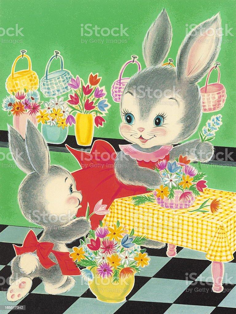 Rabbits Making Flower Baskets royalty-free stock vector art