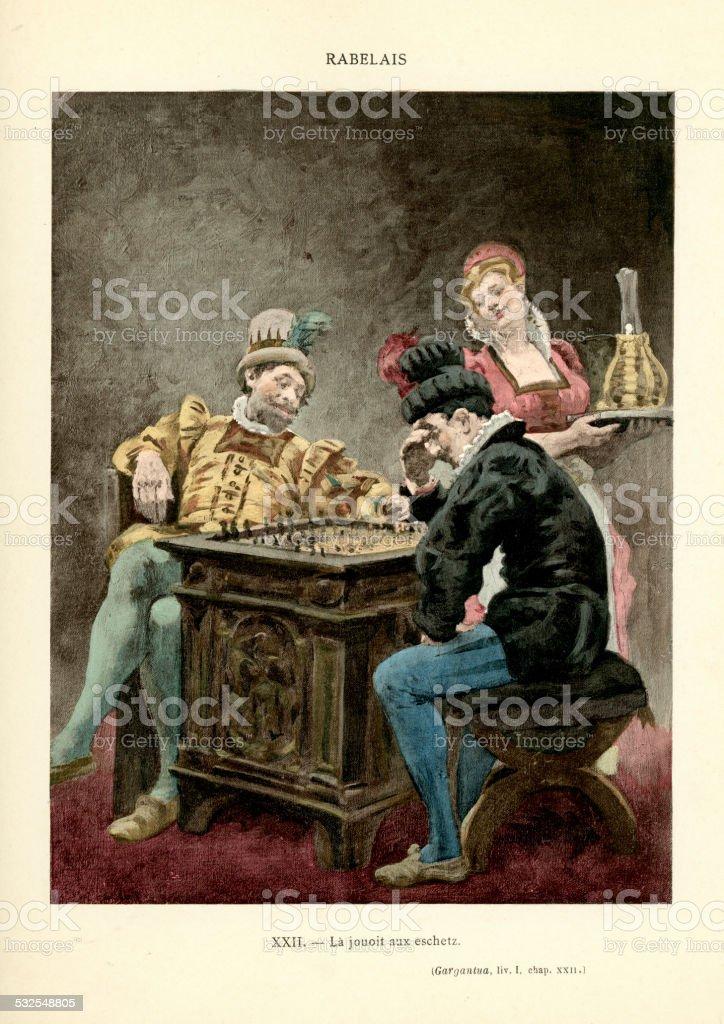 Rabelais -  The games of Gargantua vector art illustration