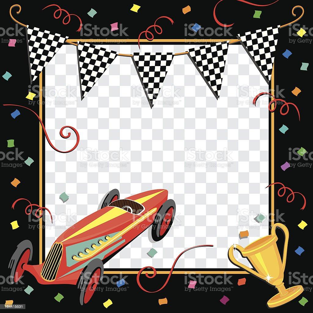 Race car or soap box derby celebration invitation royalty-free stock vector art
