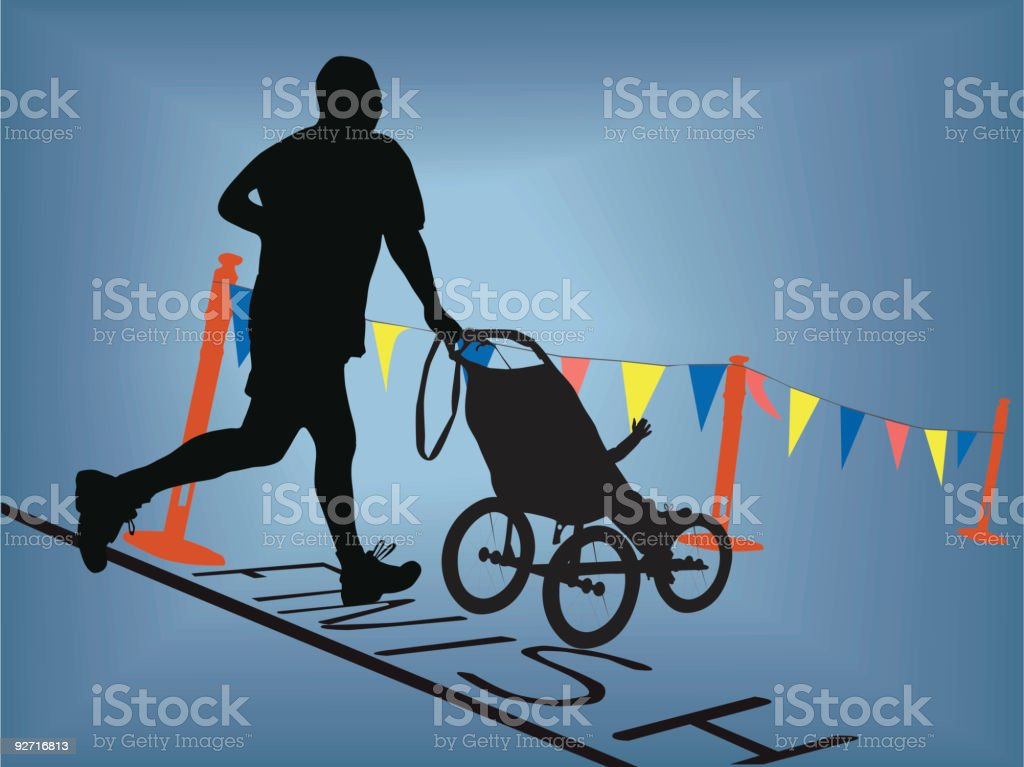 10K Race Finish with Baby royalty-free stock vector art