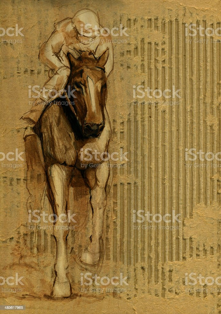 Race Horse and Jockey on Torn Cardboard Background vector art illustration