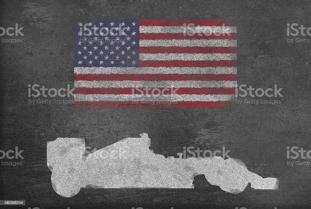 Racing car with US flag on a Blackboard vector art illustration