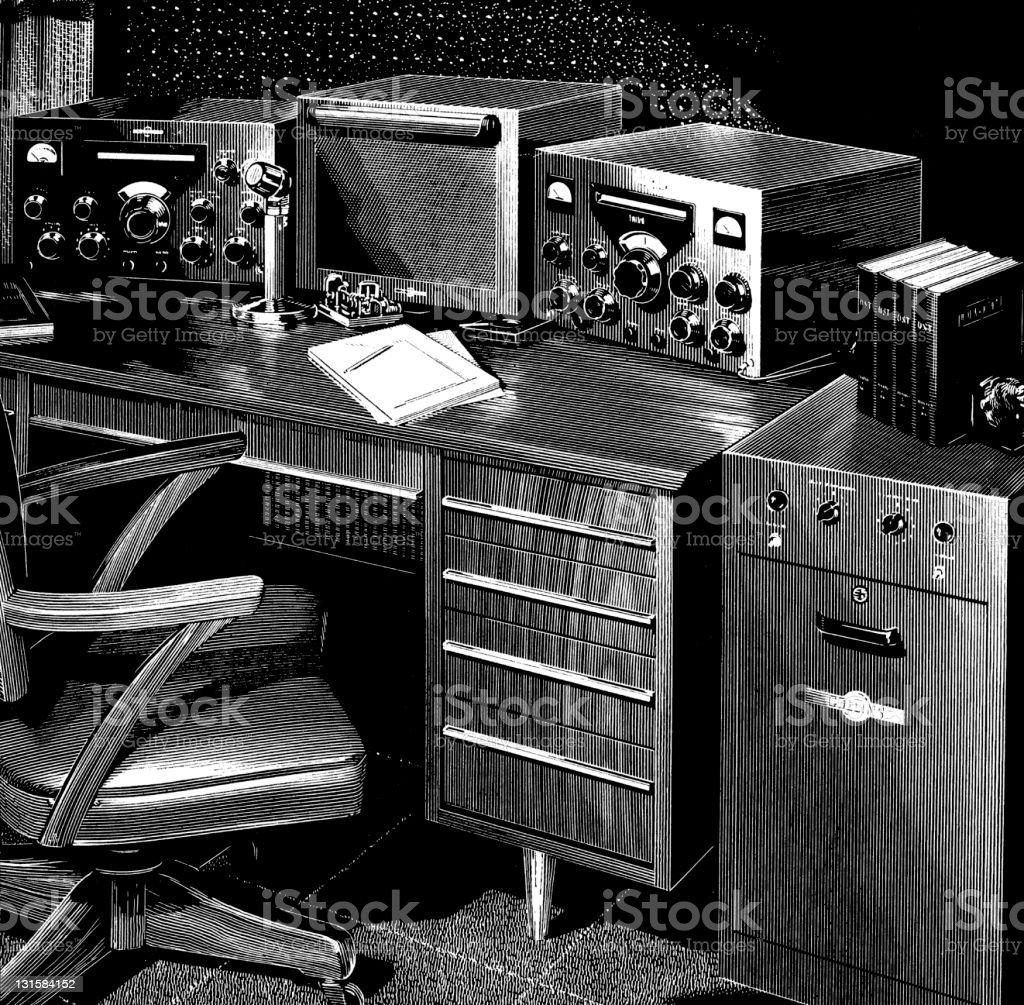 Radio Equipment on Desk royalty-free stock vector art
