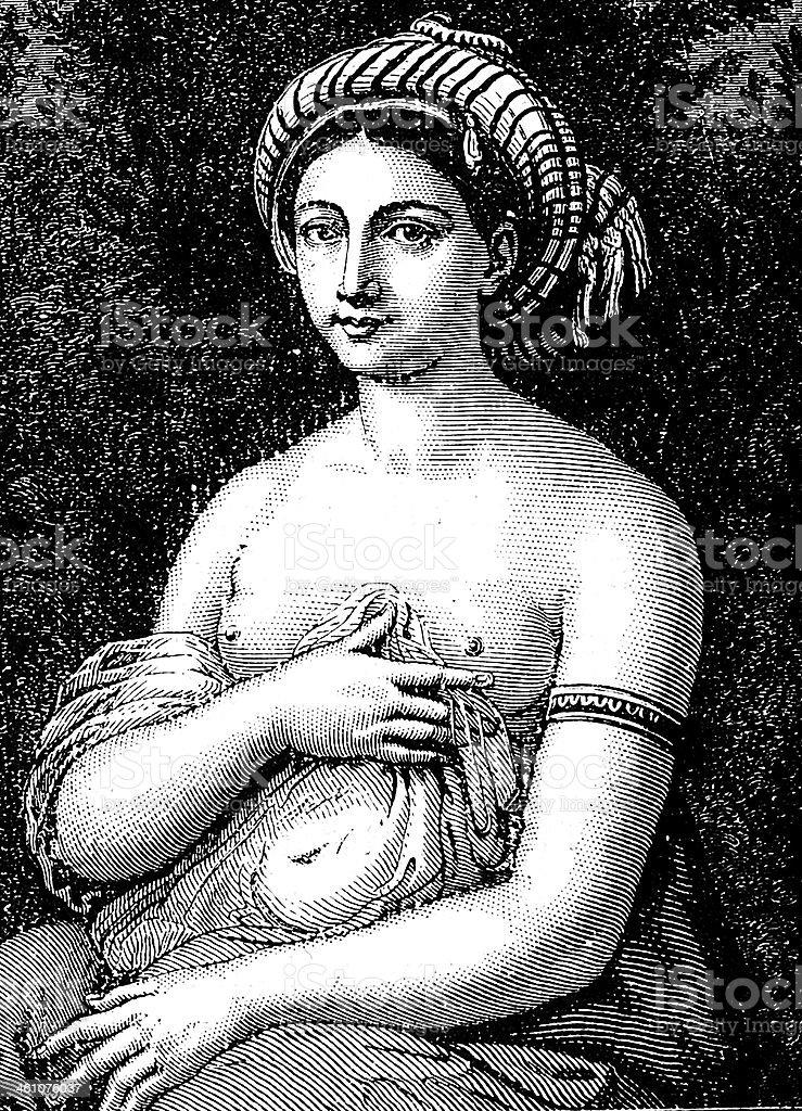 Raffaello's La Fornarina vector art illustration