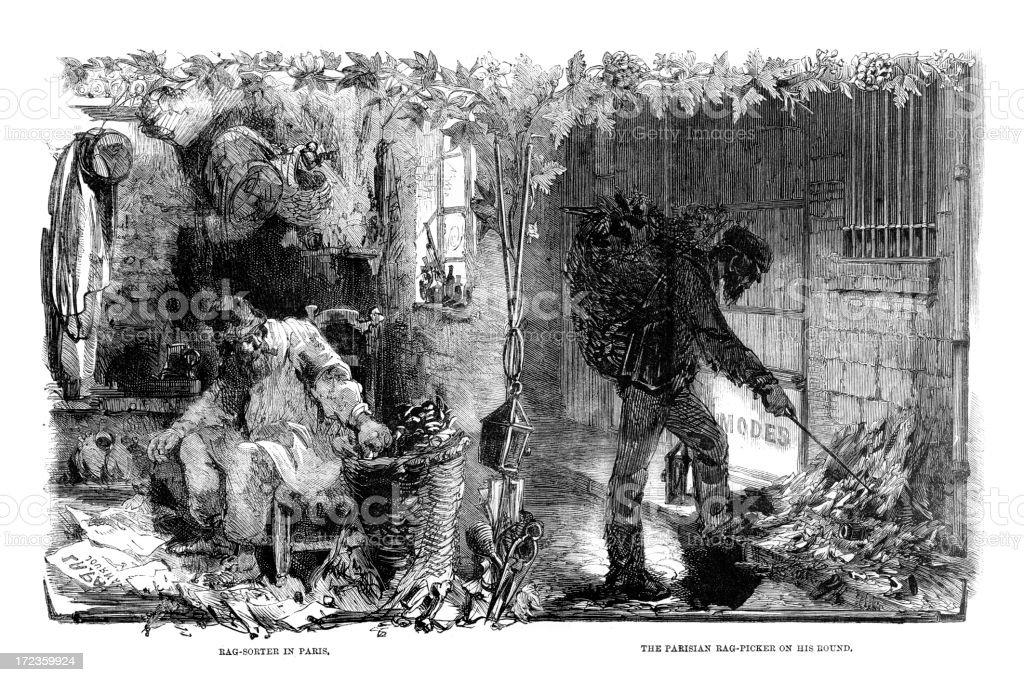 Rag collectors of Paris royalty-free stock vector art