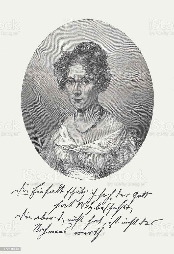Rahel Varnhagen von Ense (1771-1833), German writer, published in 1882 royalty-free stock vector art