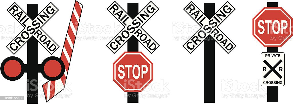Railroad Crossing Signs (4 Variations) vector art illustration