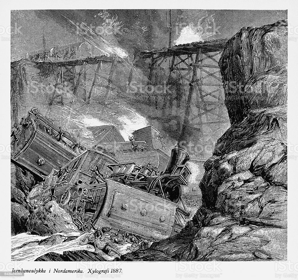 Railway Accident and Derailing in North America Engraving, 1887 vector art illustration