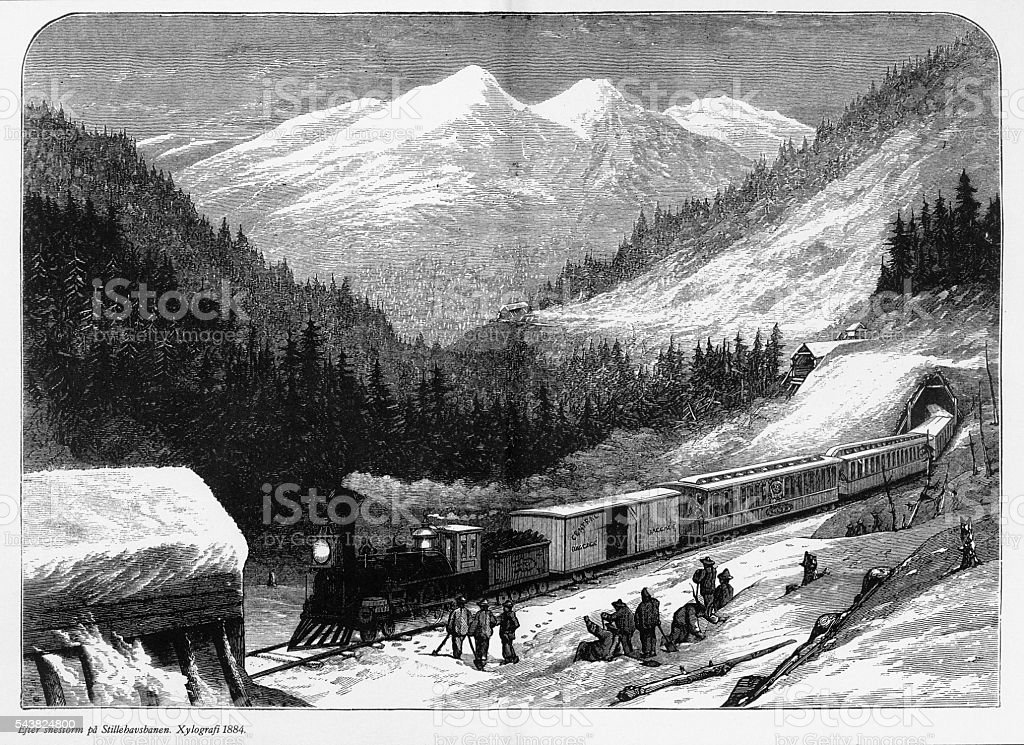 Railway After a Snowstorm Engraving, 1884 vector art illustration