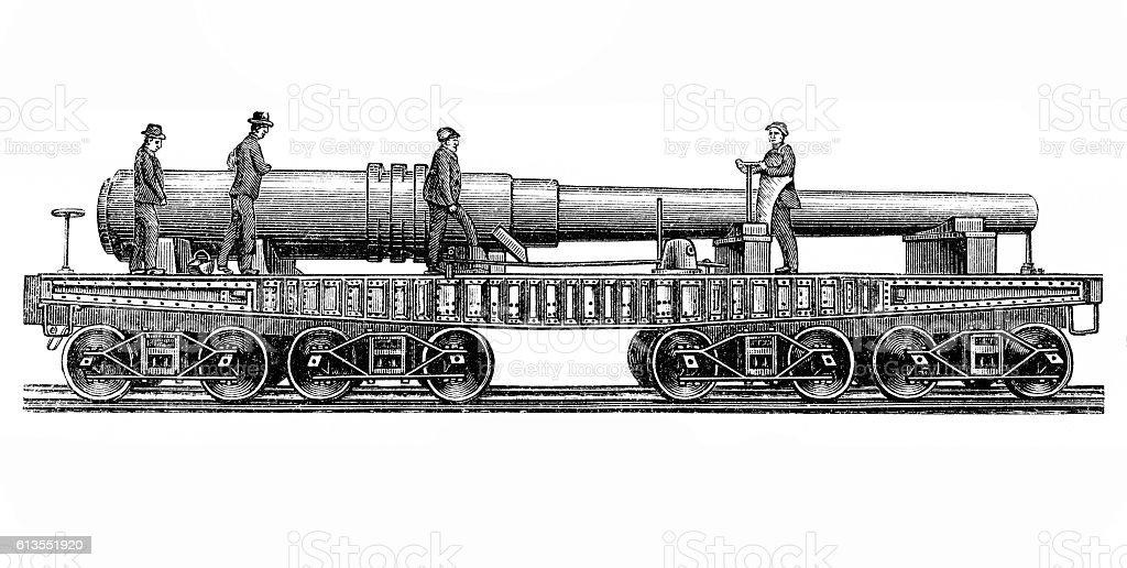 Railway gun vector art illustration