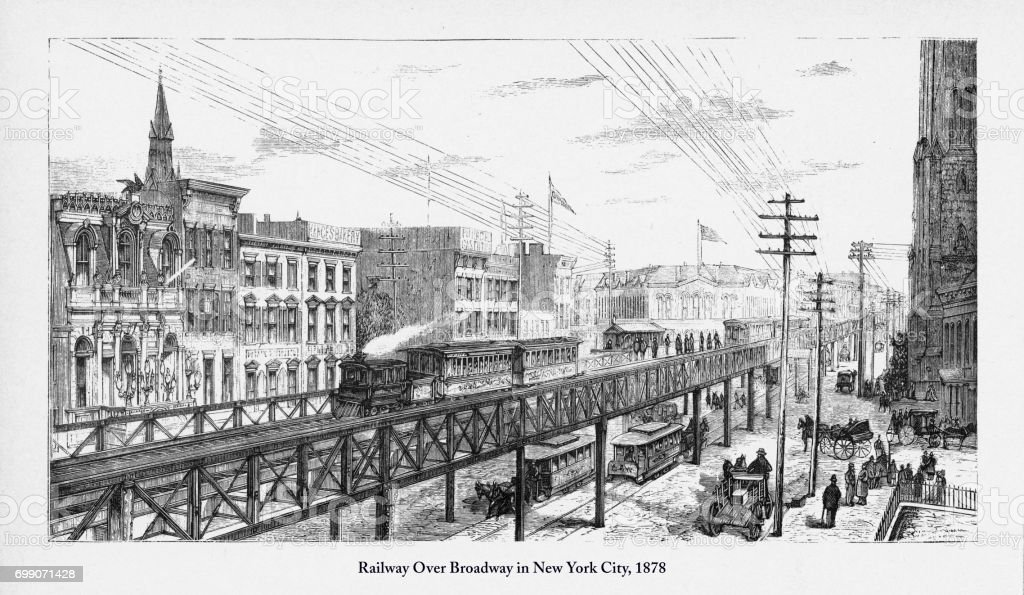 Railway Over Broadway in New York City Victorian Engraving, 1878 vector art illustration