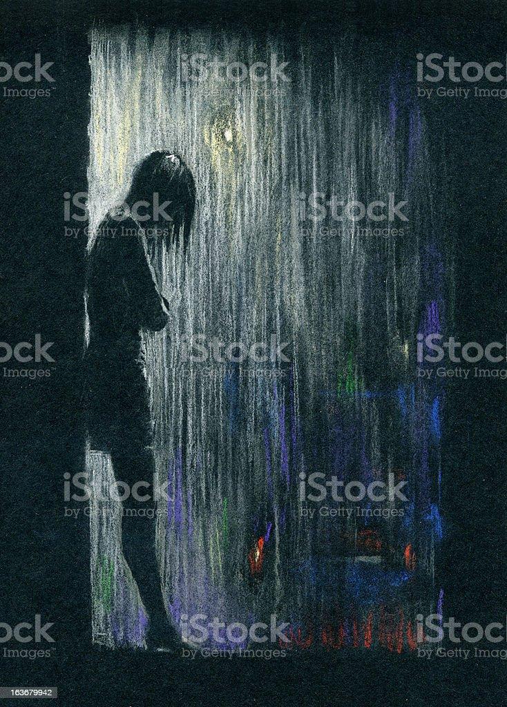 Rain in the night vector art illustration