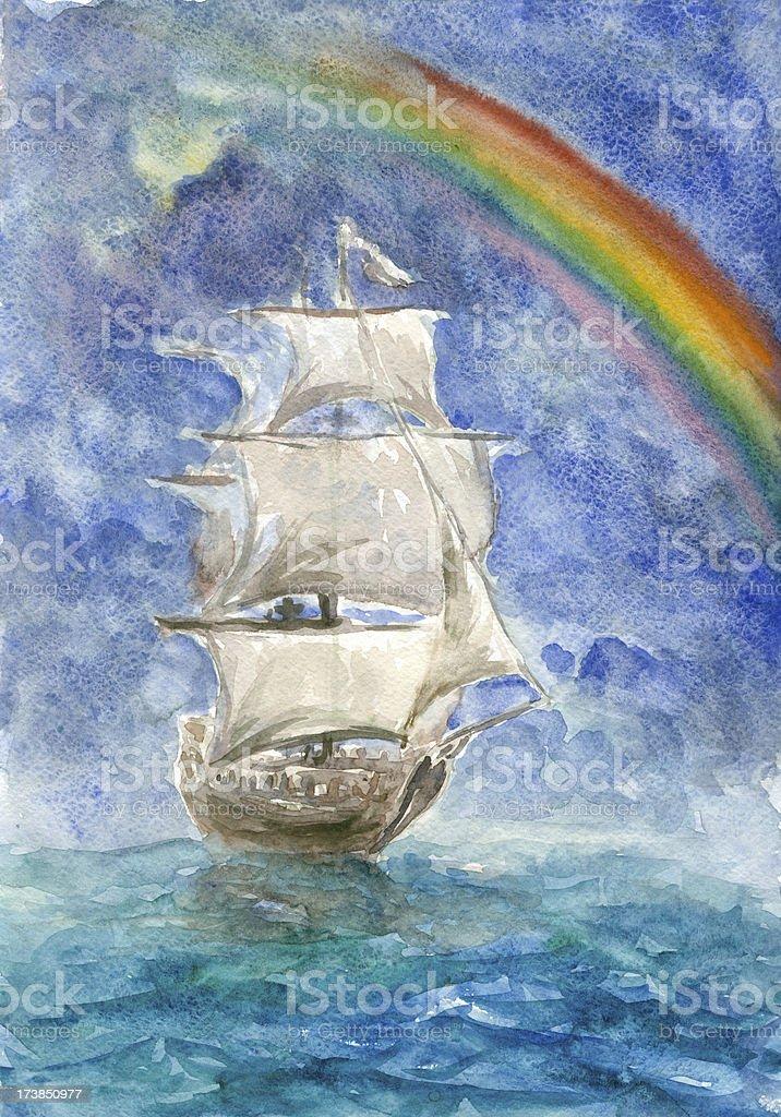 Rainbow and sails royalty-free stock vector art