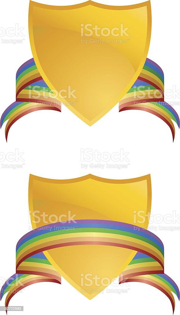 Rainbow Banner Crests royalty-free stock vector art