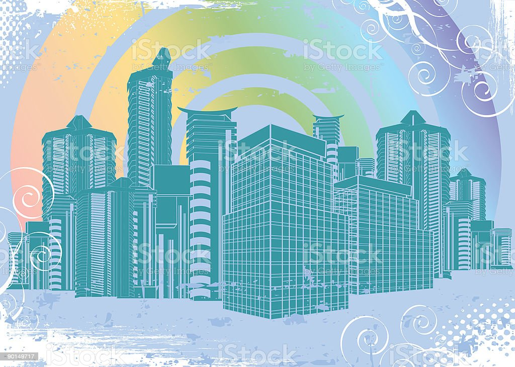 Rainbow City vector art illustration