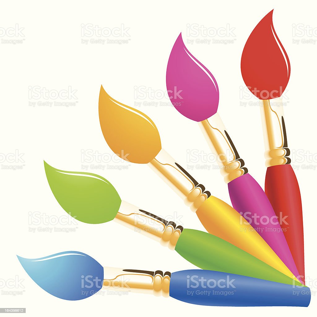 Rainbow color paintbrushes royalty-free stock vector art