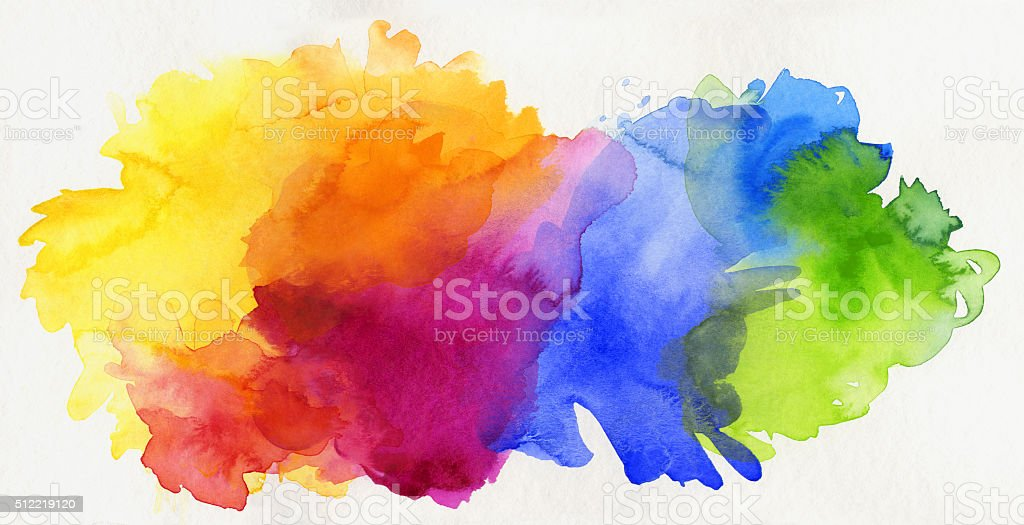 rainbow colored watercolor paints isolated on paper vector art illustration