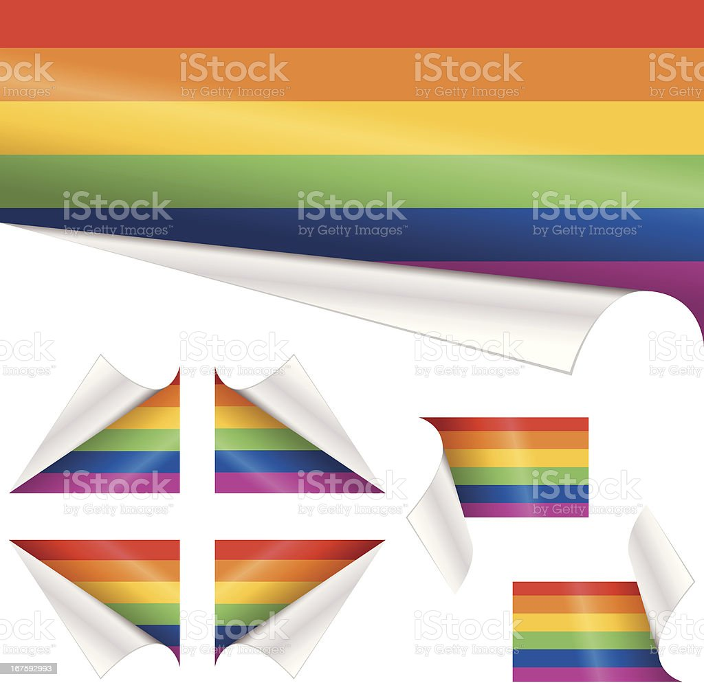 Rainbow Flags behind Curled Paper royalty-free stock vector art